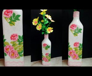 🍾 Botella Decorada🌺 Con Servilleta!!!… 😱