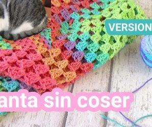 🤗Aprende Como hacer 🙇🏼♀️una Manta en crochet facil rectangular sin coser!!!🧣