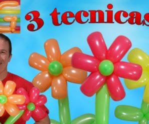 👩🏫Como hacer una flor💐🌸 con globos-🎈 tres técnicas!!!🌹