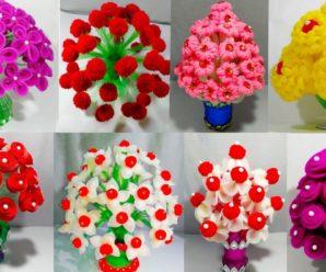😍😀Aprende hacer flores con floreros 🌷usando botellas 🍾de plástico!!!💐