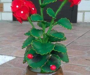 flores de naylon y alambre