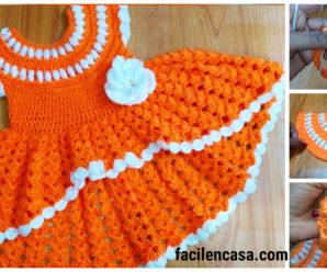 Hermoso vestido a crochet de niña-paso a paso!!!