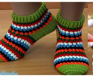 Aprende a tejer hermosas medias coloridas para adulto!!!