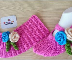 Hermosos zapatos con flores tejidos a ganchillo-gratis!!!