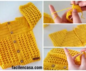 Bellisima chambrita a crochet-tutorial gratis!!!